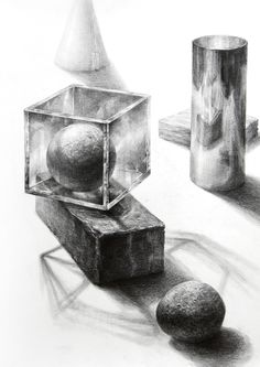 Value Drawing, Lion Drawing, Pencil Sketch Drawing, Pencil Art Drawings, Still Life Sketch, Still Life Drawing, Still Life Art, Perspective Drawing Lessons, Geometric Shapes Art