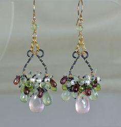 RESERVED-Rose Quartz Chandelier Earrings PeridotOxidized