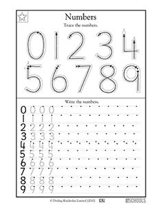 Numbers take practice! This math worksheet lets your child trace and write numbers 0 to 9.