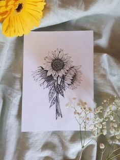 Sunflowers shared by ~ Miss Mikaela ~ on We Heart It Sunflower tattoo – Top Fashion Tattoos Sunflower Sketches, Sunflower Drawing, Sunflower Art, Sunflower Design, Sunflower Tattoos, Sunflower Illustration, Body Art Tattoos, Tattoo Drawings, Tattoo Art