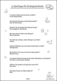 Quizfragen Kindergartenkinder