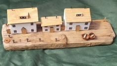 Harbourside quayside wall scene made from recycled wood & Cornish driftwood £35.99