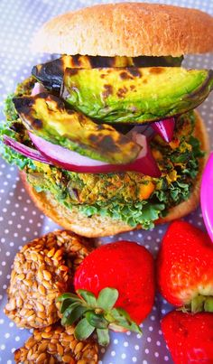 Vegan Veggie Burger With Grilled Avocado