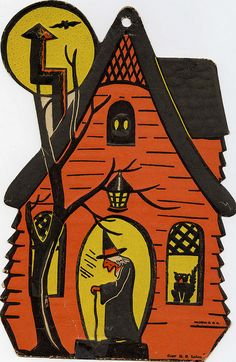 Vintage Halloween haunted house decor by skittle0105, via Flickr
