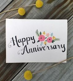 Vintage Style Hand Drawn Happy Anniversary Card by ChampaignPaper