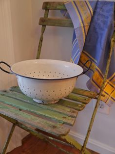 Green bistro chair and French enamelware