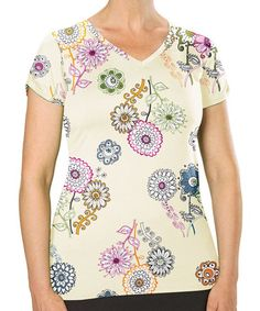 Loving this Bright Floral Shimmy Tee on #zulily! #zulilyfinds