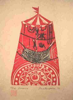 'Circus' (1977) by Japanese artist & printmaker Naoko Matsubara (b.1937). Woodblock, edition of 35, 13.275 x 9.75 in. via pink pagoda studio