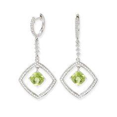 Diamond and peridot triangle shaped hoop style earrings