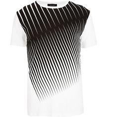 White diagonal stripe crew neck t-shirt #riverisland #RImenswear
