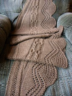 Hands Down THE softest yarn I have ever used. Combine this with the bulky weight, generous size, lovely display of stitches, giving you a shawl impossible to put down. The shawl is knit in 1 piece, the gentle curve created by increases or decreases every 4th row. Lots of texture,
