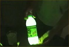 "SO. FREAKING. COOL. 1/4"" Mt Dew in bottle, add tiny bit of baking soda and 3 capfuls of hydrogen peroxide. Shake and it glows. Pour on sidewalk to ""paint""."
