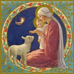 Margaret Tarrant - Madonna and Child with Lamb in circle of holly. A nativity scene Christmas card. Christmas Nativity, A Christmas Story, Christmas Art, Christian Artwork, Christian Images, Religious Images, Religious Art, Charity Christmas Cards, Jesus Art