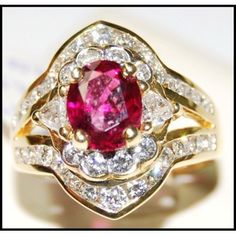 Eternity Ruby and Diamond Ring Unique 18K Yellow Gold [RB0019] ✿