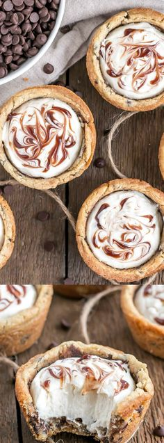 These Chocolate Chip Cookie Cups from Liv for Cake are truly one of the easiest desserts around. Chewy cookie cups are filled with vanilla cream cheese mousse and a swirl of chocolate sauce!