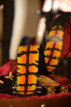 BadAxe Straps Custom Leather Guitar Straps Custom Shop Painted Python Tiger