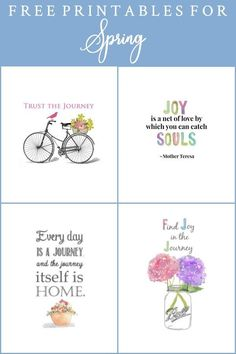 Spring Printables for DIY Wall Art. A collection of free printables perfect for DIY wall art, cards, crafts, screensavers and more! Instant download. #printables #springprintables #freeprintables