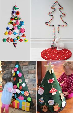 Love the washi tape tree and felt tree on the brick wall. Using one of these ideas this year.