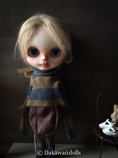 Blythe Doll Outfit /  1/6 doll size / wool  shirt/ Camel and  Dark grey border