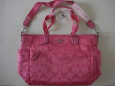Coach-Auth-F77577-Signature-Nylon-Hot-Pink-Baby-Diaper-Bag-NWT