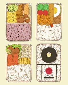Drawings of bento Food Illustrations, Illustration Art, Cute Bento Boxes, Japanese Food Art, Pinterest Instagram, Cute Food Art, Food Sketch, Food Drawing, Art Reference