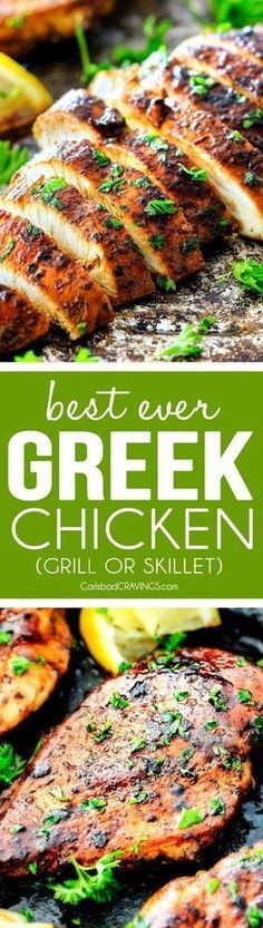 This Greek Marinated Chicken is SO juicy, tender and exploding with flavor from an EASY marinade! perfect for pitas, salads, pasta, rice/veggie etc. I love having this on hand!
