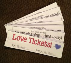 Love tickets: easy coupon book to give as a parent gift for Valentine's Day!
