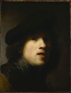 "Rembrandt van Rijn (Dutch, ""Self-Portrait"" 1629 Indianapolis Museum of Art, Courtesy of The Clowes Fund, Rembrandt Self Portrait, Rembrandt Paintings, Rembrandt Etchings, Rembrandt Art, Selfies, Caravaggio, Chiaroscuro, Dutch Artists, Famous Artists"