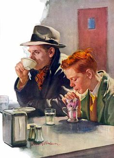 Harry Anderson, American painter.   A father and son at the diner