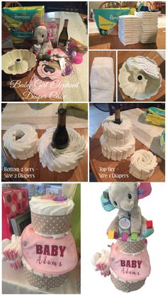 Baby Girl Elephant Diaper Cake: 1. Diapers (1&2) - 1 bag of 2's - small bag of 1's 2. 1 bottle of mom-to-be's favorite wine 3.  Any small accessories from the registry (people tend to not get the smaller stuff, so it is perfect for these cakes) pictured here: - pacifiers  - bibs - bottle brush - wash cloths - cups 4. Stuffed animal or item for the topper 5. Bunt pan 6. Rubber bands 7. Ribbon 8. Scissors 9. Glue dots (to use for the ribbon)