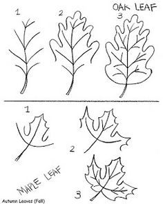 how to draw a maple leaf and an oak leaf: inkspired musings: A Rainy Day in the Fall