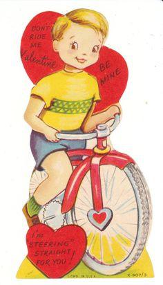 Vintage Valentine Card Boy on Bicycle Die Cut Made in USA