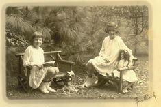 Doll Picnic, girls and their bisque dolls-1905