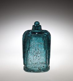 ** Maurice Marinot (1882-1960), Acid Sculpted Glass Bottle and Stopper with Internal Inclusions.
