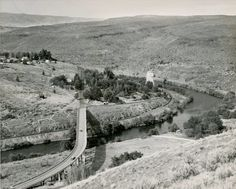 U.S. 197 bridge over Deschutes River at Maupin circa 1969 from Oregon State Archives.