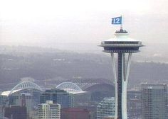 SEATTLE LOVES THE SEAHAWKS 12TH MAN FLAG ON THE SPACE NEEDLE