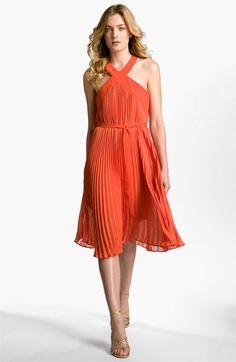 BCBGMAXAZRIA Pleated Cross Neck Halter Dress available at Nordstrom