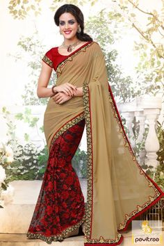 Get this fashionable red beige net designer party wear saree online with bumper discount prices. Buy this heavy designer wedding wear saree from online shopping store on festivals 2015-2016. #sarees, #embroiderysaree, #partywearsaree, #diwalisareecollection, #weddingwearsaree, #sareewithblouse, #designersaree More : http://www.pavitraa.in/store/designer-sarees/ Call / WhatsApp : +91-76982-34040  E-mail: info@pavitraa.in