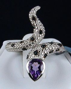 1.43ct Rio Grande Amethyst with Black Spinel Accents 925 Solid Sterling Silver Ring.  Visit my eBay store for more beautiful genuine earth-mined gemstone jewelry! http://stores.ebay.com/hm-fine-jewelry-and-more  #amethyst #Riograndeamethyst   #amethystring #blackspinel #birthstonering   #genuinegemstones     #snakerings #gemstonerings   #fashion    #style       #glitzandglam  #glam   #finejewelry       #jewelryforher #fashionjewelry   #jewelry      #gems   #jewels    #rings