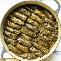 Traditional vegan stuffed grape leaves are a beautiful addition to a Middle Eastern dinner.