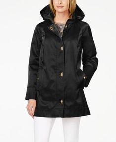 Jones New York Petite Hooded Turnkey Raincoat - Black PXXL #RaincoatsForWomenNewYork