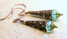 Copper Filigree Bead Caps and Czech Glass by AllowingArtDesigns, $15.00