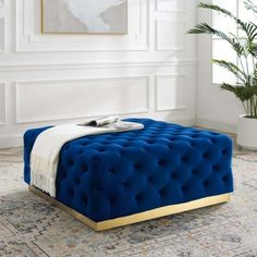 Blue Velvet Totally Tufted Square Ottoman Coffee Table Gold Base Square Ottoman Coffee Table, Unique Coffee Table, Coffee Tables, Big Sofas, Upholstered Ottoman, Inexpensive Furniture, Navy Blue Color, Extra Seating, Furniture Deals