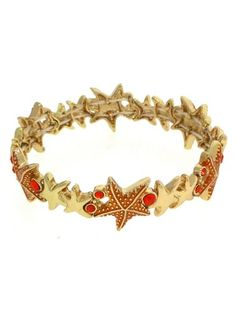 Amazon.com: Gold and Orange Stretch Starfish Bracelet. 1/2 Inch Width Design.: Jewelry