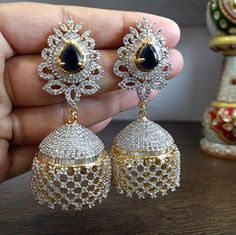 Check out the beautiful 1 gram gold different designs of earrings .We have very trendy collection like cz jumkas , chan. Bridal Earrings, Gold Earrings, Wedding Jewelry, Stone Earrings, Jewelry Design Earrings, Gold Jewelry, Tiffany Jewelry, Luxury Jewelry, Jewelry Necklaces