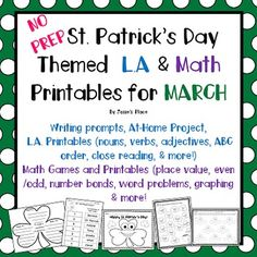 This activity has a leprechaun theme  but can be used all through March!  It includes a no prep project for children to complete at home. Directions and letter are included,This product  includes the following:-Super Shamrock Project directions and two choices of shamrocks. (3 pages)-Language Art Printables 1 Originally written close reading, the Legend of the Leprechaun1 Comprehension Questions for close reading2 ABC Order cut and paste printables2 page Following Directions/Listening ...