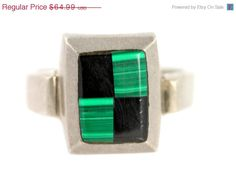 Valentine Sale Mexican Taxco Sterling Silver Green Malachite & Black Obsidian Ring Vintage Size 10.75