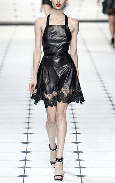 Leather apron-style dress with leather appliqué lace hem.  Jason Wu or Jason Wow?!!!