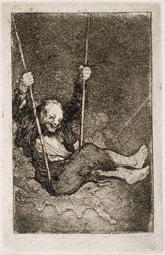 Francisco de Goya  -  Viejo columpiándose, 1826-1828, Serie Últimos caprichos,  Aguafuerte, aguatinta, aguada y bruñidor. Museo Nacional del Prado.