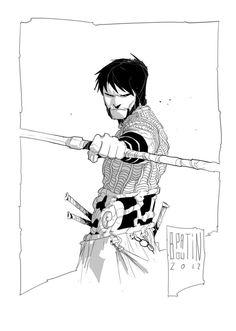 by PatBoutin on DeviantArt Character Illustration, Graphic Illustration, Character Concept, Character Art, Mike Mignola Art, Comic Style Art, Black Cartoon Characters, Dark Art Drawings, Dark Fantasy Art
